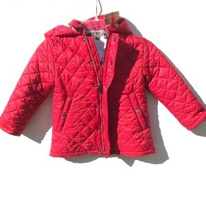 Burberry red Girls Quilted Coat 3 Y 2 2T